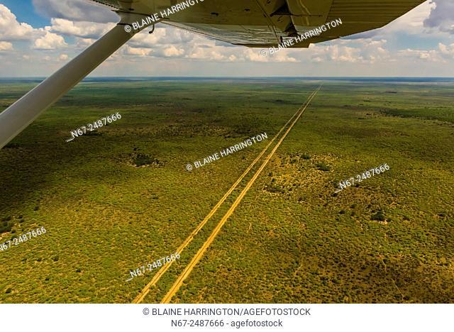Aerial view, road in the bush, Botswana