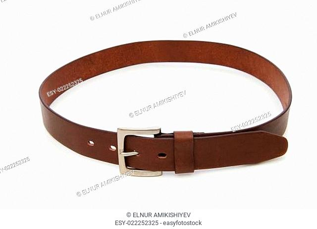 Leather belt isolated on the white background
