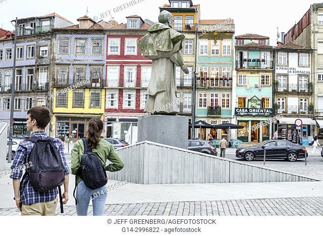 Portugal, Porto, historical center, Martyrs Street, Rua Campo dos Martires da Patria, plaza, statue, Bishop Antonio Ferreira Gomes, anti facism hero, Hispanic