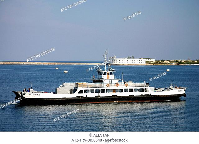 LOCAL FERRY ON BLACK SEA & SEA FORTRESS; SEVASTOPOL, CRIMEA, UKRAINE; 30/04/2008