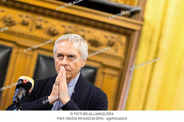 26 March 2018, Germany, Hamburg: John Neumeier during the contract extension as ballet intendant and chief choreographer of the Hambuger Ballet until 2023 at...