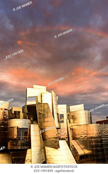 Sunset on the Frederick R. Weisman Art Museum at the University of Minnesota. A stainless steel and brick building designed by architect Frank Gehry