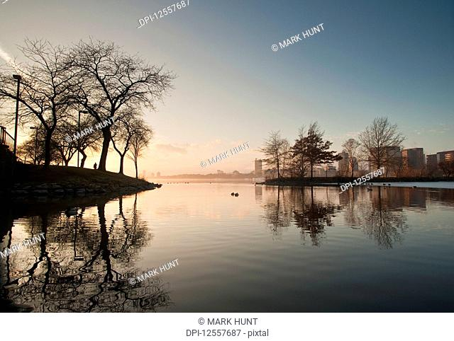 River with a city in the background, Charles River, Boston, Suffolk County, Massachusetts, USA