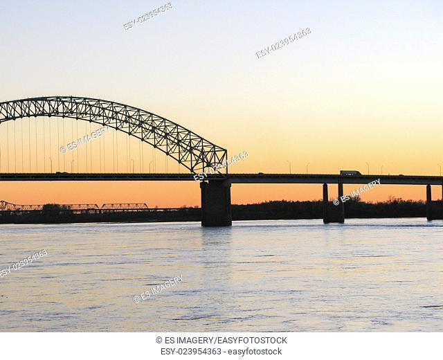 Hernando de Soto Bridge with Memphis-Arkansas Bridge in the background