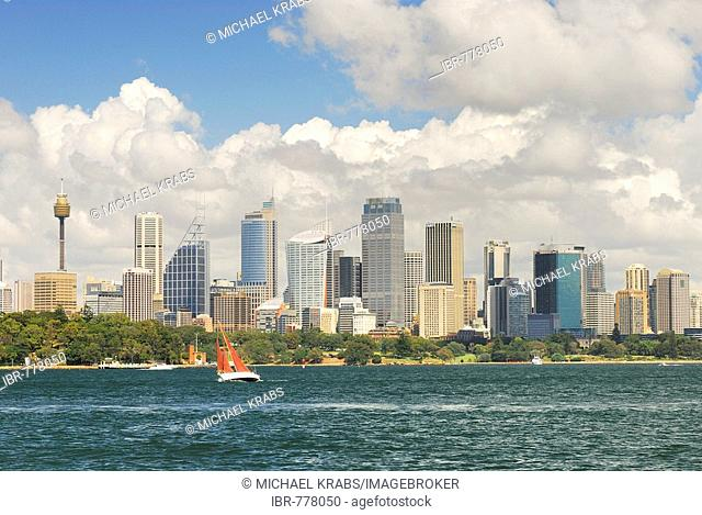 Skyline of Sydney, Sydney Tower on the left, Sydney, New South Wales, Australia