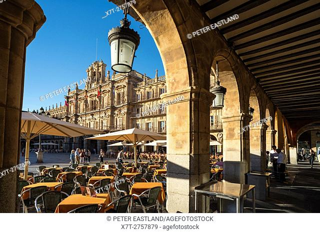 Salamanca's Baroque Plaza Mayor, seen from the shade of its arcade. in the center of Salamanca, Spain
