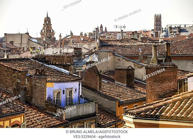 Roofs in Carmes Quarter, Toulouse (Haute-Garonne Department, Occitanie Region, France)