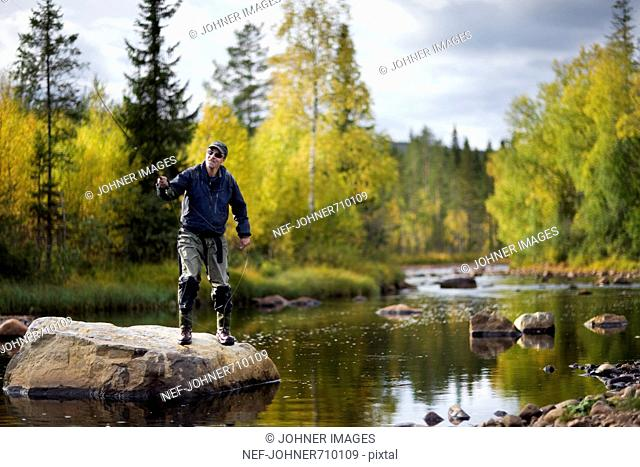 A man fly-fishing, Sweden