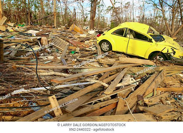 Hurricane and flood damage along the US Gulf coast. Waveland, Mississippi, USA