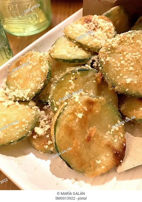 Slices of fried courgette