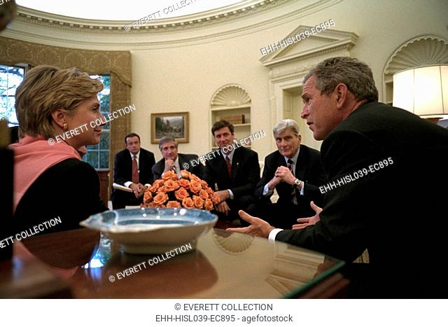 Oval Office meeting on Sept. 13, 2001, 2 days following the 9-11 Terrorist Attacks. President George W. Bush meets with, from left: NY Sen