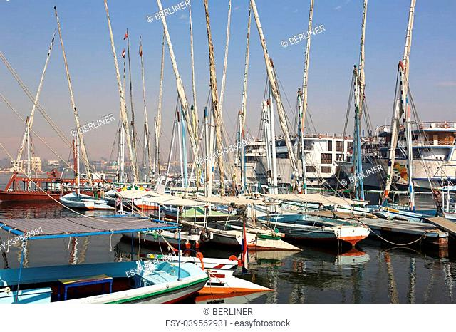 Feluccas, Cruise ships and motos boats at West Bank of Luxor, Egypt