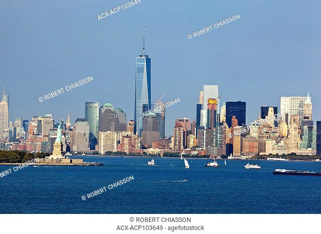Southern tip of Manhattan and Liberty Island as seen from the New York Harbor, New York City, New York, U.S.A