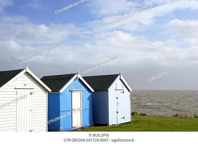 Beach huts near Ipswich, Essex. England