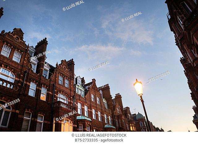 Street with apartment buildings at dusk and streetlamp under blue sky. Draycott Pl., London, England