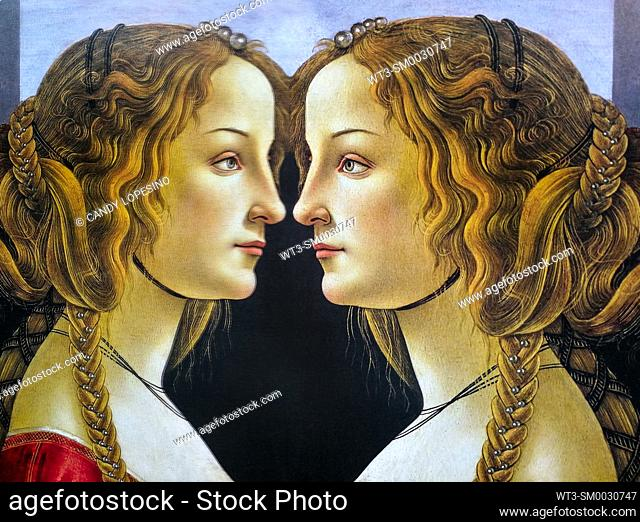 Women in Art, portrait of a young woman painted by Sandro Botticelli in the year 1480, reflected in a mirror