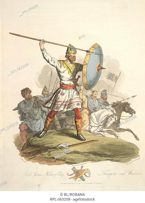 Anglo-Saxon military chief, trumpeter and warriors. Anno 975. Image taken from The Costume of the original inhabitants of the British Islands from the earliest...