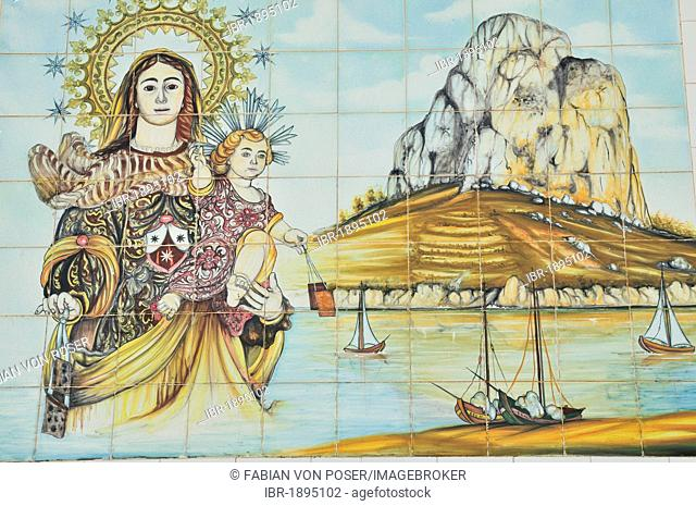 Mosaic wall with the landmark rock Peñón de Ifach, port of Calpe, Costa Blanca, Spain, Europe