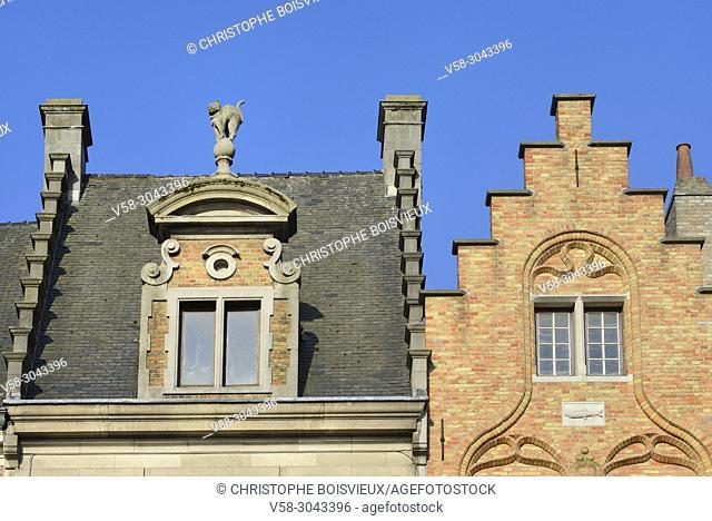 Belgium, Bruges, World Heritage Site, Markt square, Traditional flemish houses