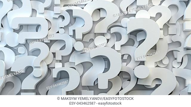 Question marks backround. FAQ, decision and confusion concept. 3d illustration