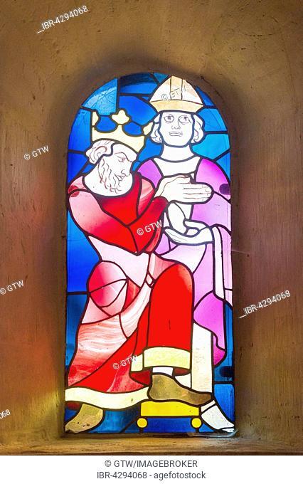 St. Ulrich's Chapel, stained glass windows, Imperial Palace, Kaiserpfalz, UNESCO World Heritage Site, Goslar, Harz, Lower Saxony, Germany