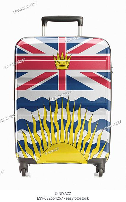 Suitcase painted into Canadian territory or province flag series - British Columbia