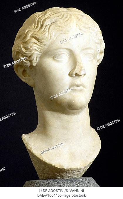 Marble head of Antoinette Minor, artefact uncovered in the Augusteo, Roselle, Tuscany, Italy. Roman Civilisation, 1st half of 1st century