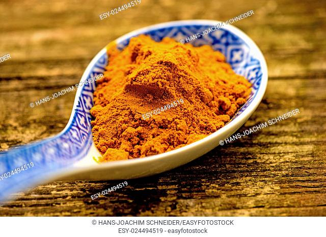 turmeric powder on a spoon