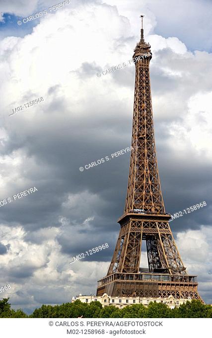 The Eiffel Tower view from Bir-Hakem bridge, Paris, France