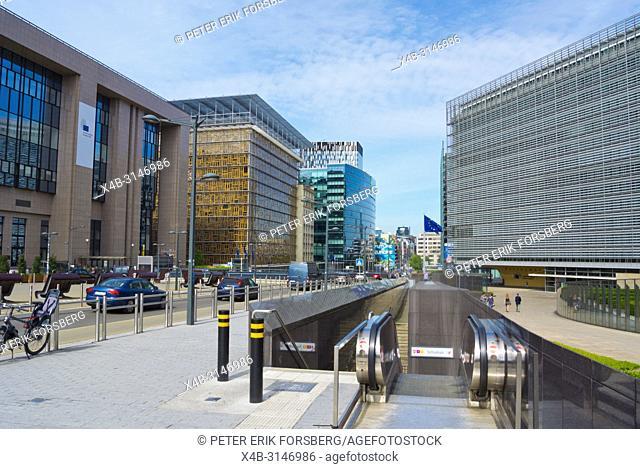 Rue de la Loi, at Berlaymont, European Commission headquarters, European Quarter, Brussels, Belgium