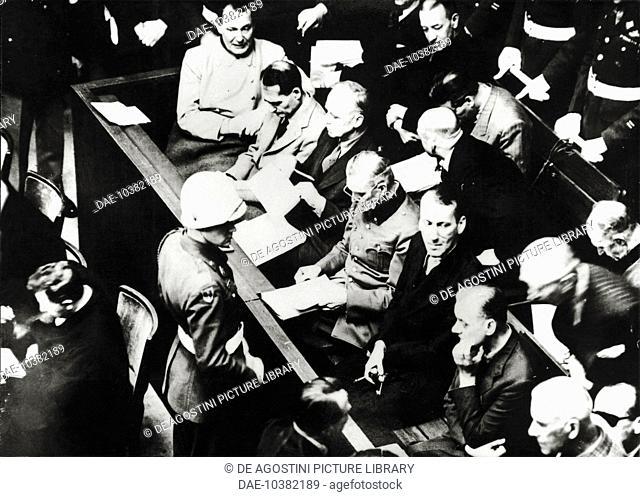 Hermann Goering, Rudolf Hess, Joachim Ribbentrop and Wilhelm Keitel at the Nuremberg Trials, 1946, Germany, 20th century