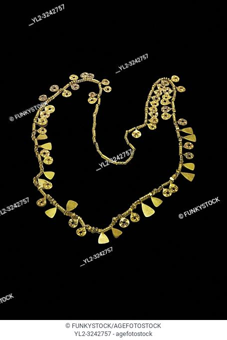 Bronze Age Hattian gold necklace from Grave MA, possibly a Bronze Age Royal grave (2500 BC to 2250 BC) - Alacahoyuk - Museum of Anatolian Civilisations, Ankara