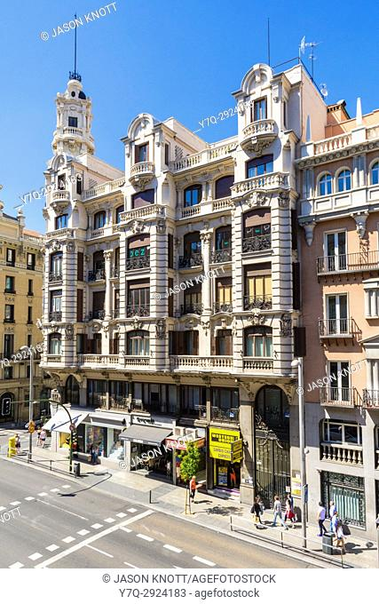 Grand buildings along Calle Gran Via, Madrid, Spain
