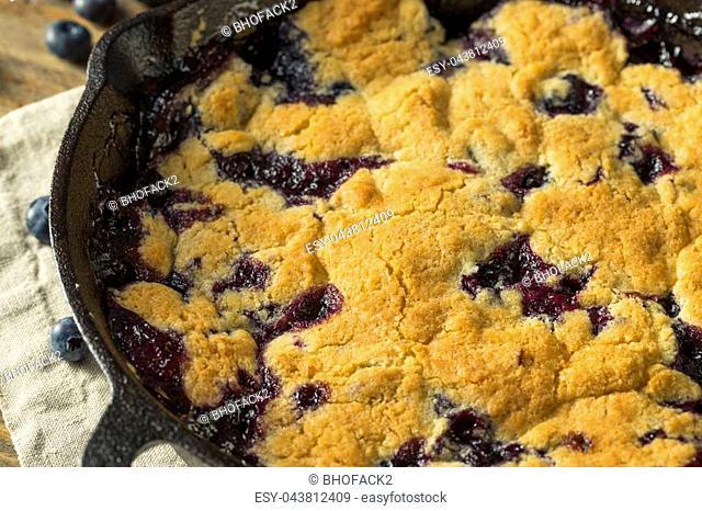 Sweet Homemade Blueberry Cobbler Dessert with Ice Cream