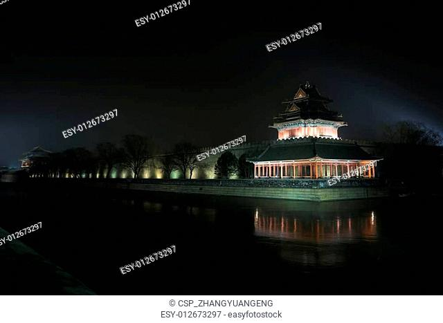 The Northwest turrets of the Forbidden City at night, on decembe