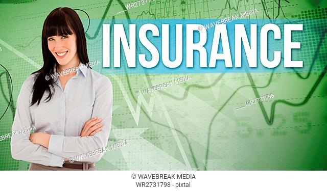 Composite image of Business woman Standing in front of camera against green background