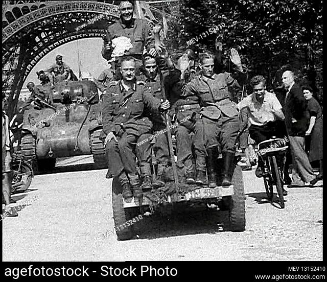 German Prisoners Of War Being Driven Past the Eiffel Tower In Paris - Paris, French Republic, France