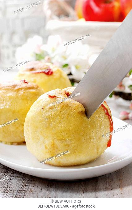 Baked apples stuffed with blueberry jam