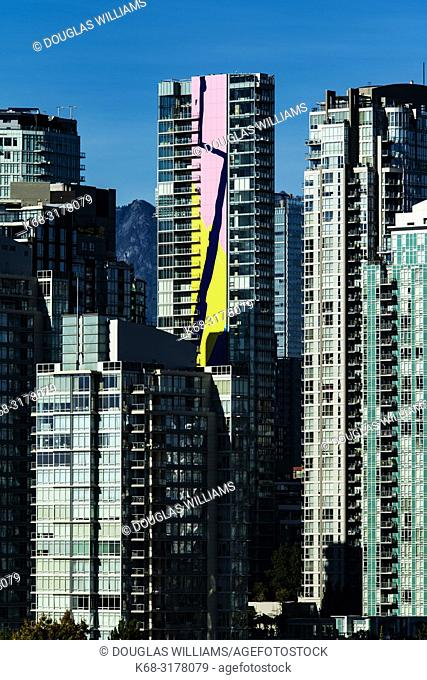 downtown apartment buildings, Vancouver, BC, Canada including the Charleson tower with the Finger Paint mural by artist Elizabeth McIntosh