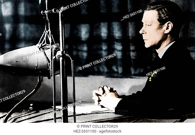 Edward VIII giving his abdication broadcast to the nation and the Empire, 11th December 1936.  Artist: Unknown