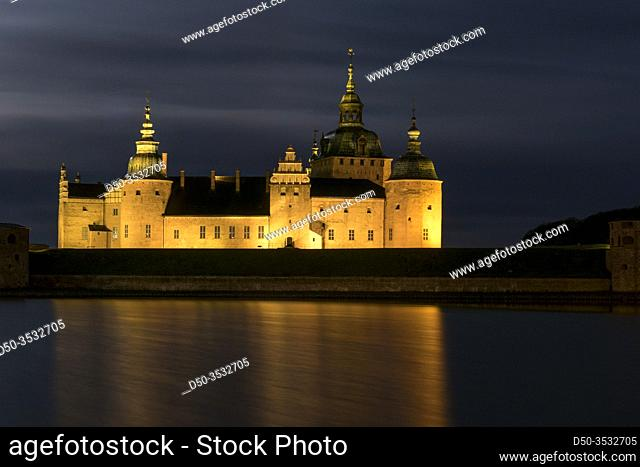 Kalmar, Sweden The grounds of the Kalmar Castle at night and moonlight