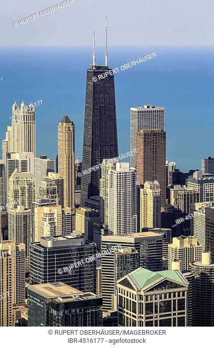 Skyline in front of John Hancock Center, Lake Michigan, view from the Skydeck, Willis Tower, formerly Sears Tower, Chicago, Illinois, USA