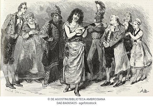 Princess Prascovia singing the Guzla song at Van Tricasse home, scene from Le Docteur Ox, opera bouffe by Jules Verne, music by Offenbach, Theatre des Varietes