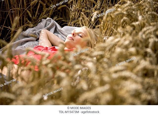 A woman lying in a wheatfield in summertime