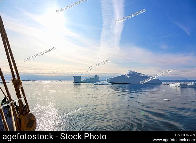 Icebergs melting on sunny Atlantic Ocean Greenland