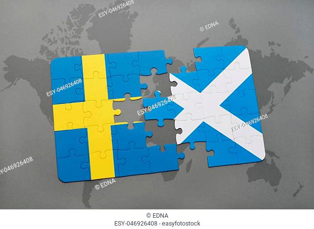 puzzle with the national flag of sweden and scotland on a world map background. 3D illustration