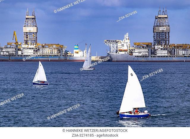 Sailing boats at the Port of Las Palmas de Gran Canaria, Canary Islands