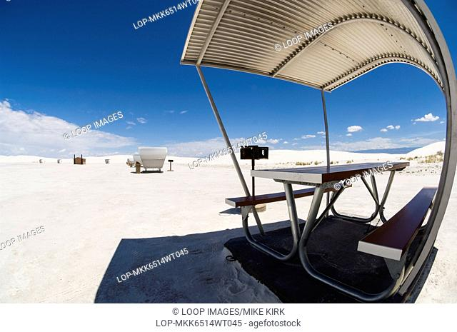 Detail of shelter and barbecue at White Sands National Monument