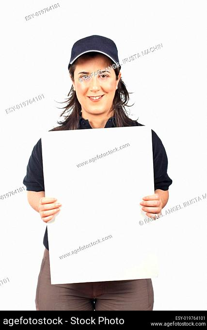 Courier woman holding the blank card