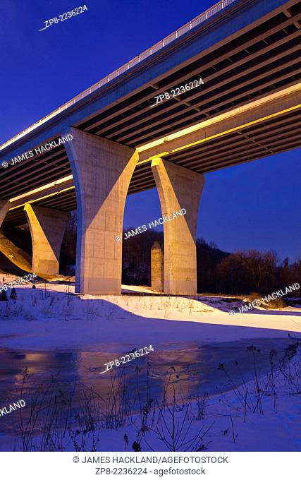 A viaduct (bridge) along Dundas Street that spans 16 Mile Creek and the Lions Valley in Oakville, Ontario, Canada